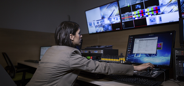 editor at the controls livestreaming an event